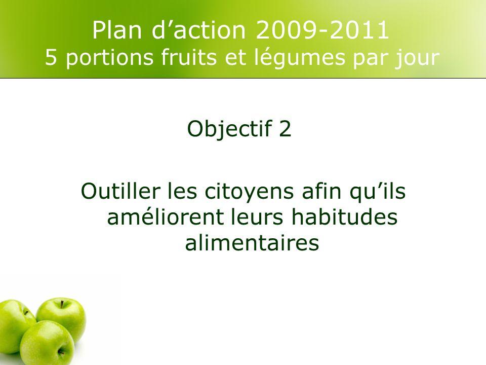 Plan daction 2009-2011 5 portions fruits et légumes par jour Objectif 2 Outiller les citoyens afin quils améliorent leurs habitudes alimentaires