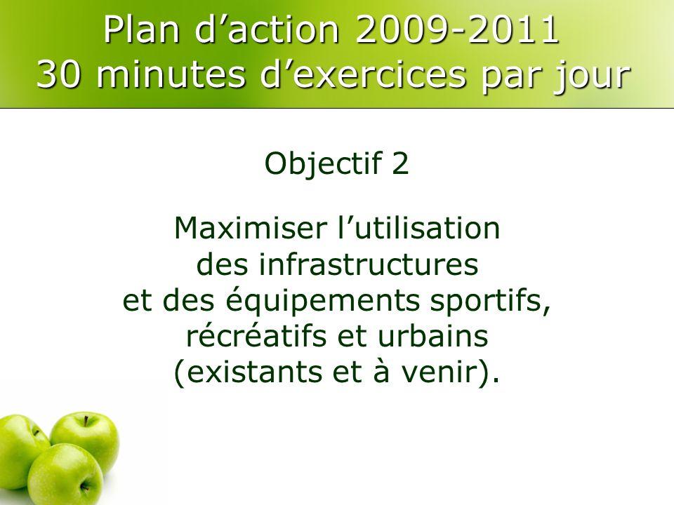 Plan daction 2009-2011 30 minutes dexercices par jour Objectif 2 Maximiser lutilisation des infrastructures et des équipements sportifs, récréatifs et urbains (existants et à venir).