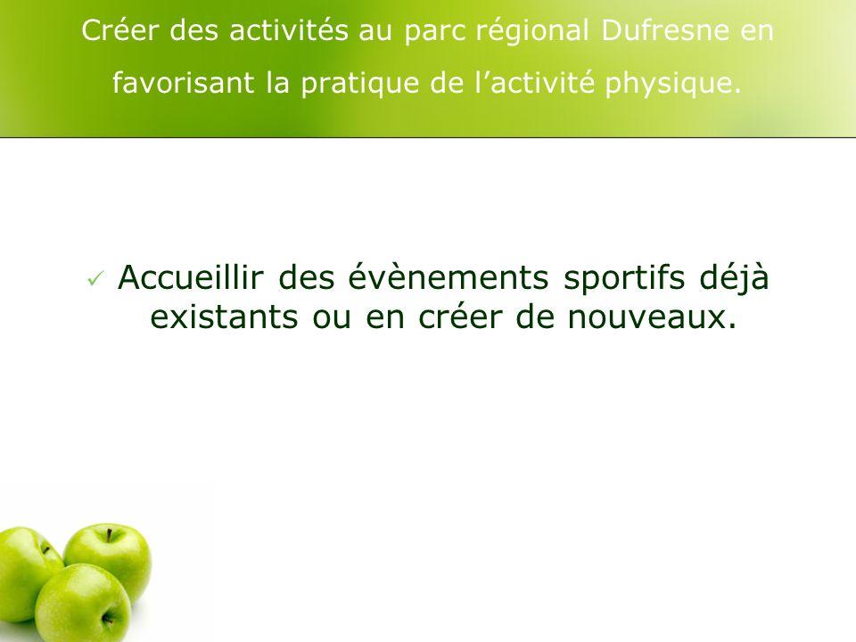 Créer des activités au parc régional Dufresne en favorisant la pratique de lactivité physique.