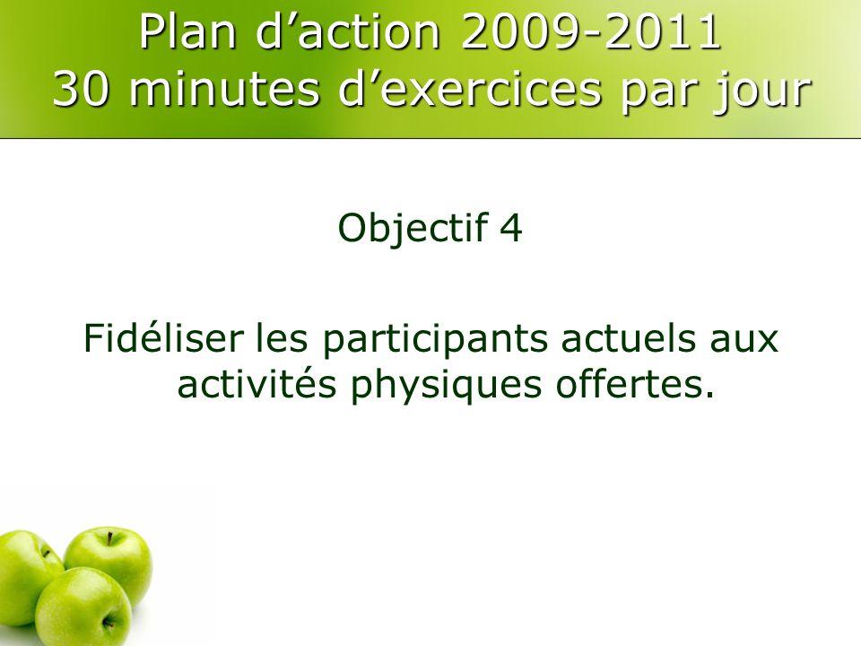 Plan daction 2009-2011 30 minutes dexercices par jour Objectif 4 Fidéliser les participants actuels aux activités physiques offertes.