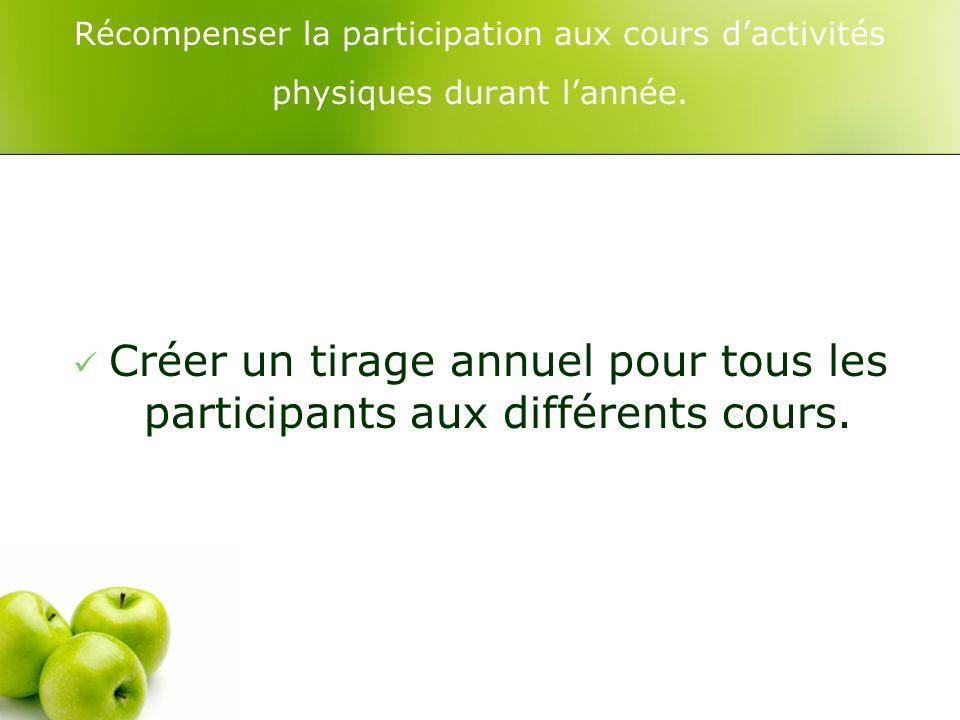 Récompenser la participation aux cours dactivités physiques durant lannée.