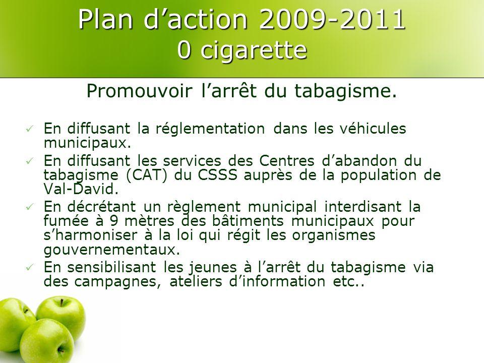 Plan daction 2009-2011 0 cigarette Promouvoir larrêt du tabagisme.