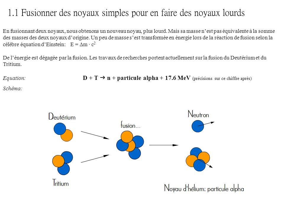 1.1 Fusionner des noyaux simples pour en faire des noyaux lourds En fusionnant deux noyaux, nous obtenons un nouveau noyau, plus lourd. Mais sa masse
