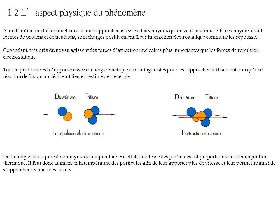 Afin dinitier une fusion nucléaire, il faut rapprocher assez les deux noyaux quon veut fusionner. Or, ces noyaux étant formés de protons et de neutron