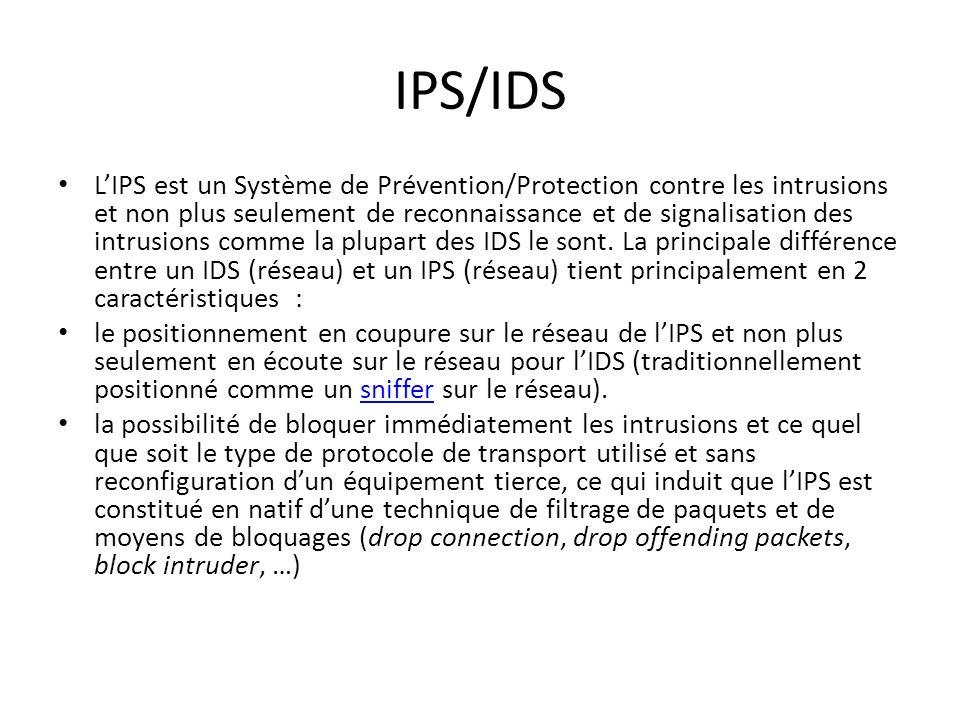 11 Cat é gories de D é tecteurs d intrusions :IDS et IPS On peut classer les IDS suivant deux catégories : – Les IDS « Classiques », basés sur les sig