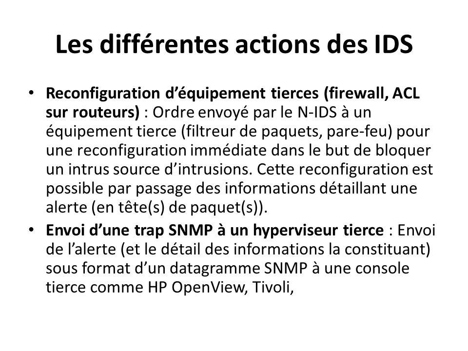 7 D é tecteurs d intrusions : Emplacements Le placement des NIDS va dépendre de la politique de sécurité, mais il serait opportun de – coupler des IDS