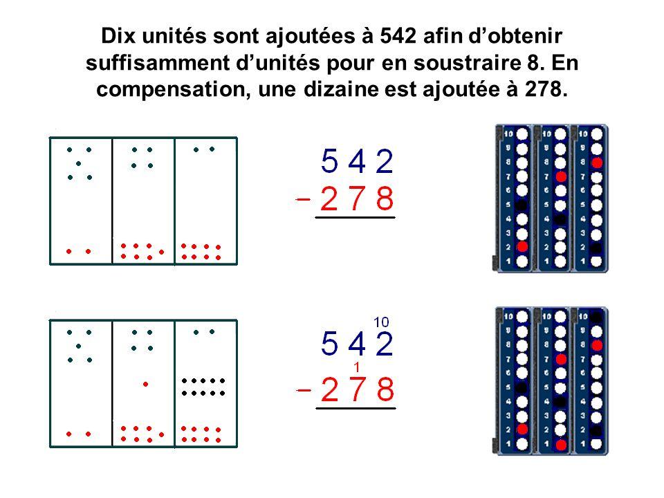 Dix unités sont ajoutées à 542 afin dobtenir suffisamment dunités pour en soustraire 8.