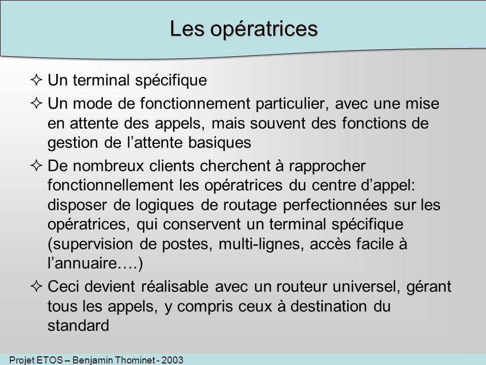 Projet ETOS – Benjamin Thominet - 2003 Les opératrices Un terminal spécifique Un mode de fonctionnement particulier, avec une mise en attente des appe