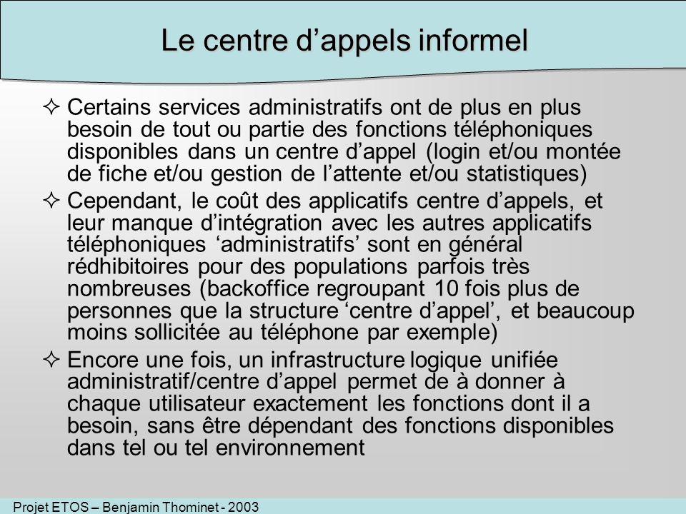 Projet ETOS – Benjamin Thominet - 2003 Le centre dappels informel Certains services administratifs ont de plus en plus besoin de tout ou partie des fo