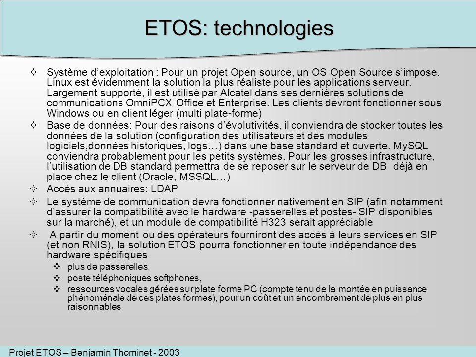 Projet ETOS – Benjamin Thominet - 2003 ETOS: technologies Système dexploitation : Pour un projet Open source, un OS Open Source simpose. Linux est évi