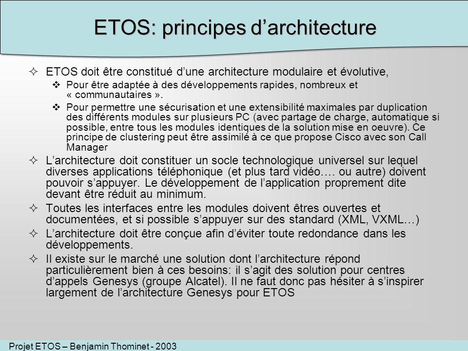 Projet ETOS – Benjamin Thominet - 2003 ETOS: principes darchitecture ETOS doit être constitué dune architecture modulaire et évolutive, Pour être adaptée à des développements rapides, nombreux et « communautaires ».