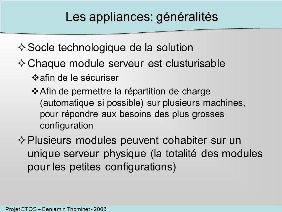 Projet ETOS – Benjamin Thominet - 2003 Les appliances: généralités Socle technologique de la solution Chaque module serveur est clusturisable afin de