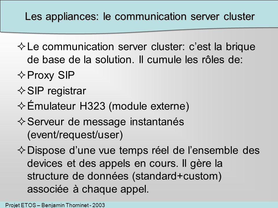 Projet ETOS – Benjamin Thominet - 2003 Les appliances: le communication server cluster Le communication server cluster: cest la brique de base de la solution.