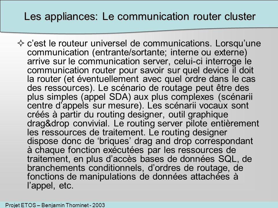 Projet ETOS – Benjamin Thominet - 2003 Les appliances: Le communication router cluster cest le routeur universel de communications. Lorsquune communic
