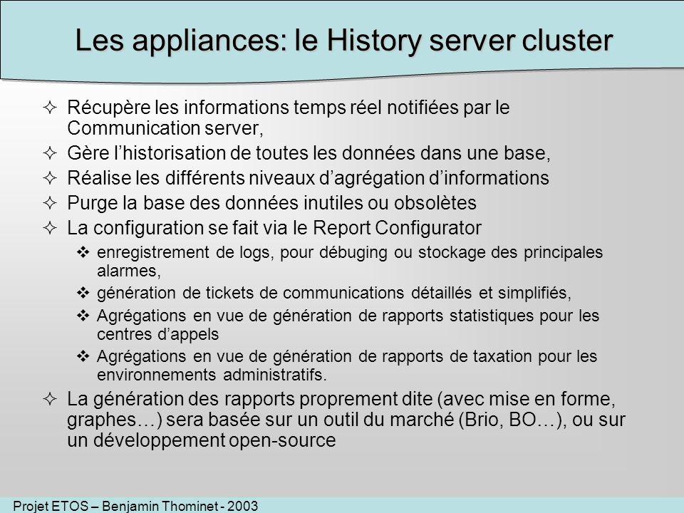 Projet ETOS – Benjamin Thominet - 2003 Les appliances: le History server cluster Récupère les informations temps réel notifiées par le Communication s