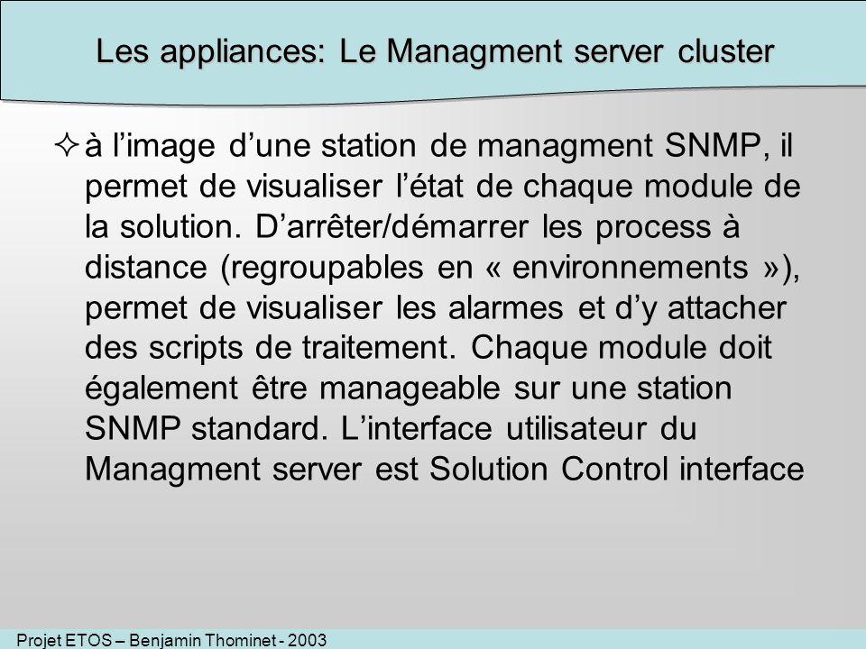 Projet ETOS – Benjamin Thominet - 2003 Les appliances: Le Managment server cluster à limage dune station de managment SNMP, il permet de visualiser létat de chaque module de la solution.