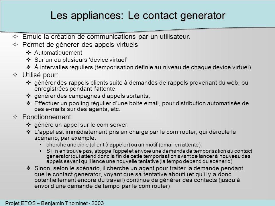 Projet ETOS – Benjamin Thominet - 2003 Les appliances: Le contact generator Emule la création de communications par un utilisateur.