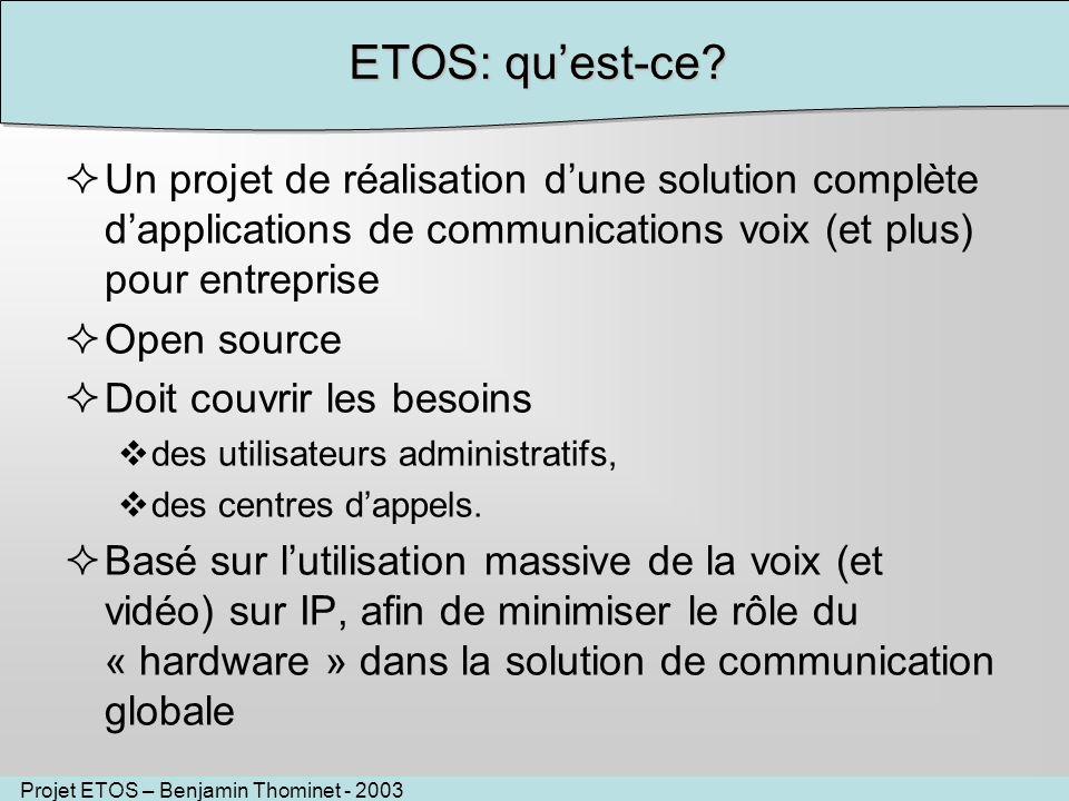Projet ETOS – Benjamin Thominet - 2003 ETOS: quest-ce? Un projet de réalisation dune solution complète dapplications de communications voix (et plus)