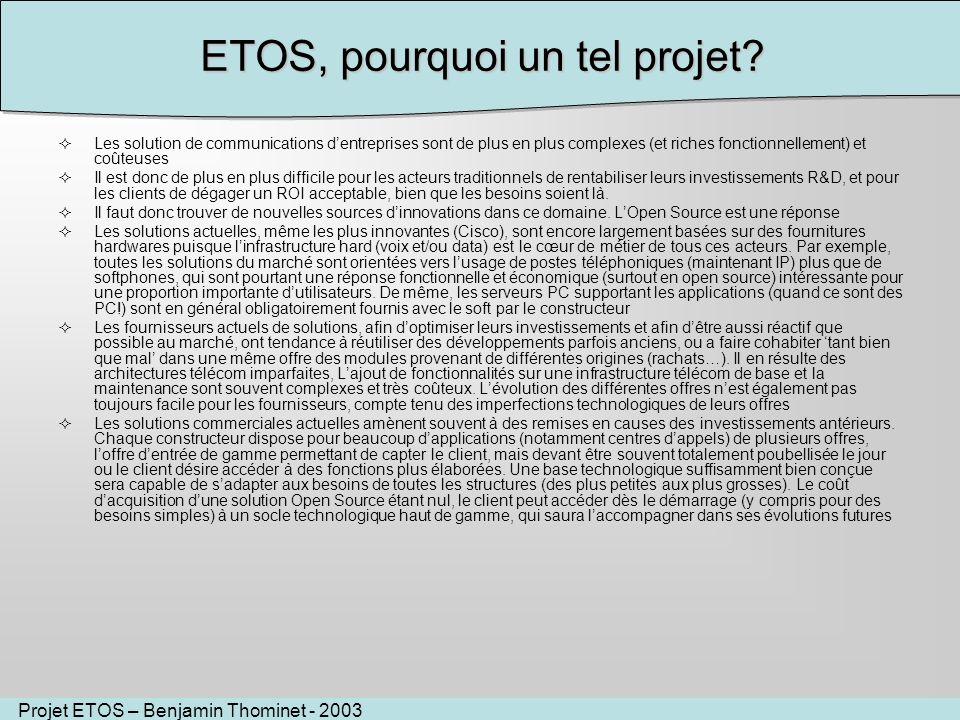 Projet ETOS – Benjamin Thominet - 2003 ETOS, pourquoi un tel projet? Les solution de communications dentreprises sont de plus en plus complexes (et ri