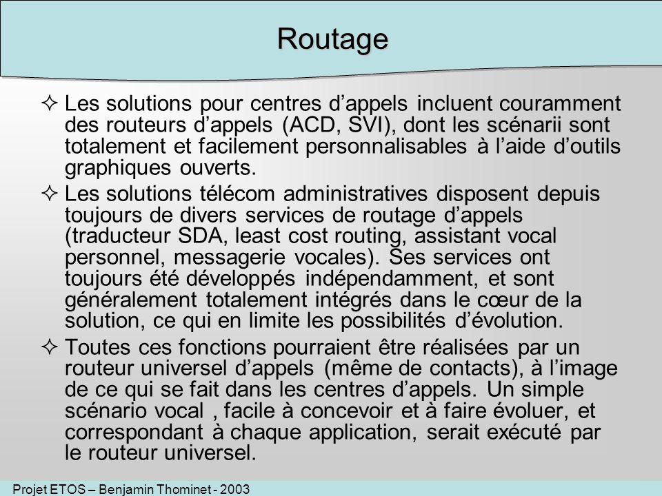 Projet ETOS – Benjamin Thominet - 2003Routage Les solutions pour centres dappels incluent couramment des routeurs dappels (ACD, SVI), dont les scénarii sont totalement et facilement personnalisables à laide doutils graphiques ouverts.