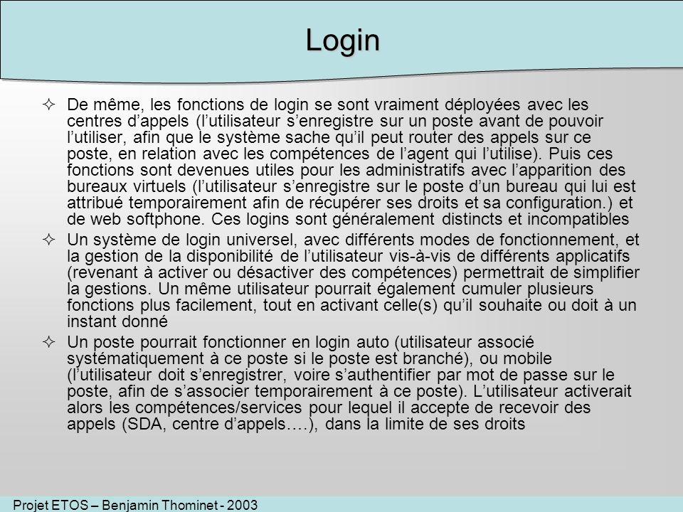 Projet ETOS – Benjamin Thominet - 2003Login De même, les fonctions de login se sont vraiment déployées avec les centres dappels (lutilisateur senregis