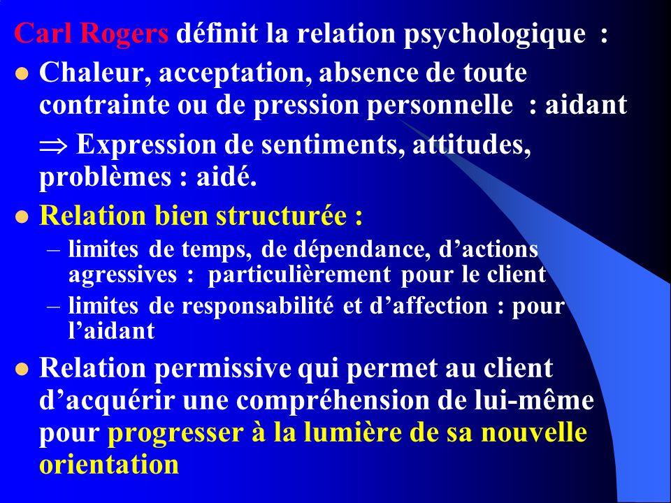Carl Rogers définit la relation psychologique : Chaleur, acceptation, absence de toute contrainte ou de pression personnelle : aidant Expression de sentiments, attitudes, problèmes : aidé.
