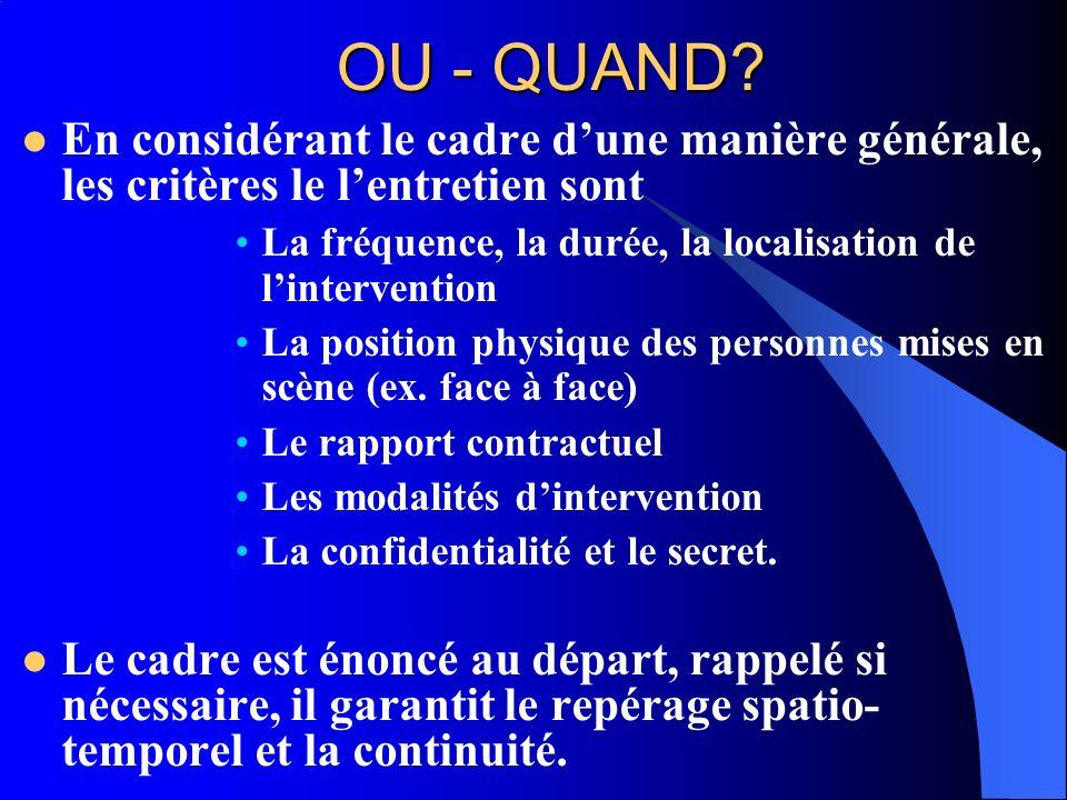 OU - QUAND? En considérant le cadre dune manière générale, les critères le lentretien sont La fréquence, la durée, la localisation de lintervention La