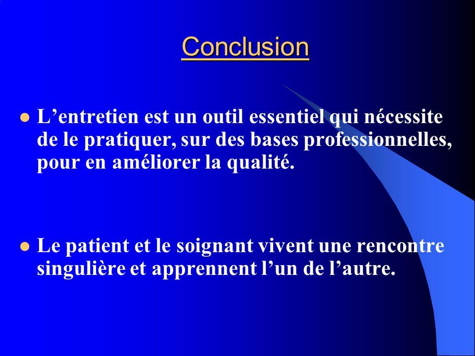 Conclusion Lentretien est un outil essentiel qui nécessite de le pratiquer, sur des bases professionnelles, pour en améliorer la qualité. Le patient e