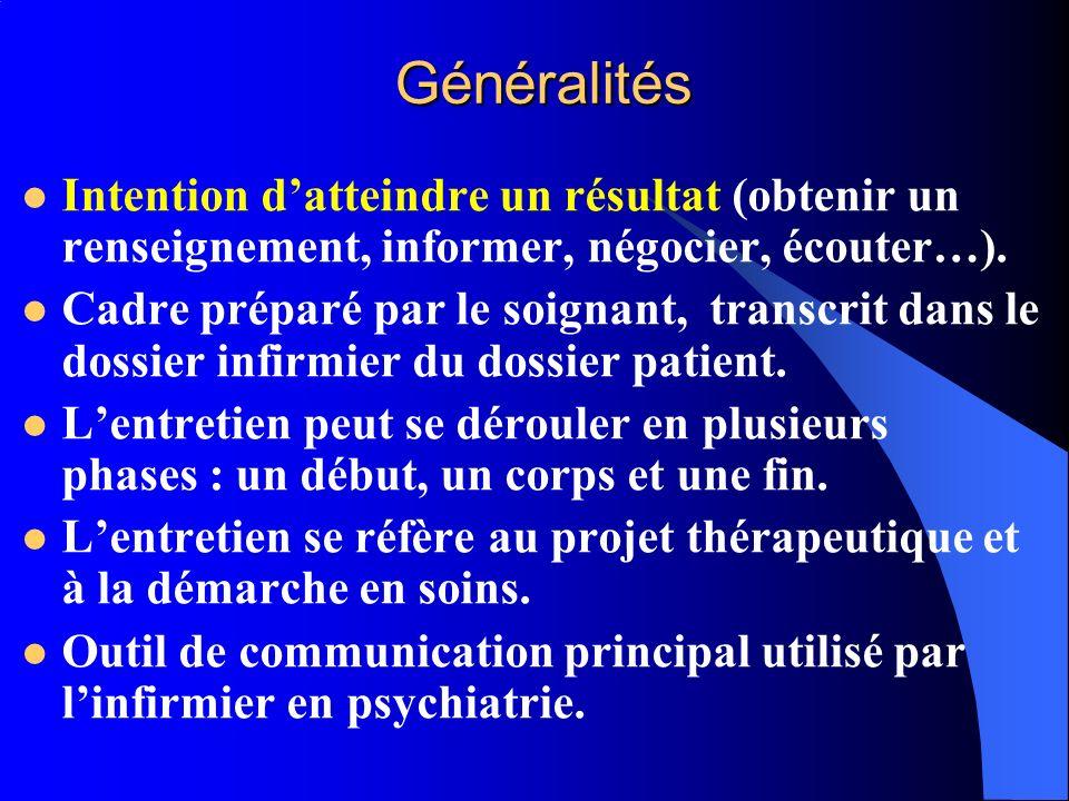 Généralités Intention datteindre un résultat (obtenir un renseignement, informer, négocier, écouter…). Cadre préparé par le soignant, transcrit dans l