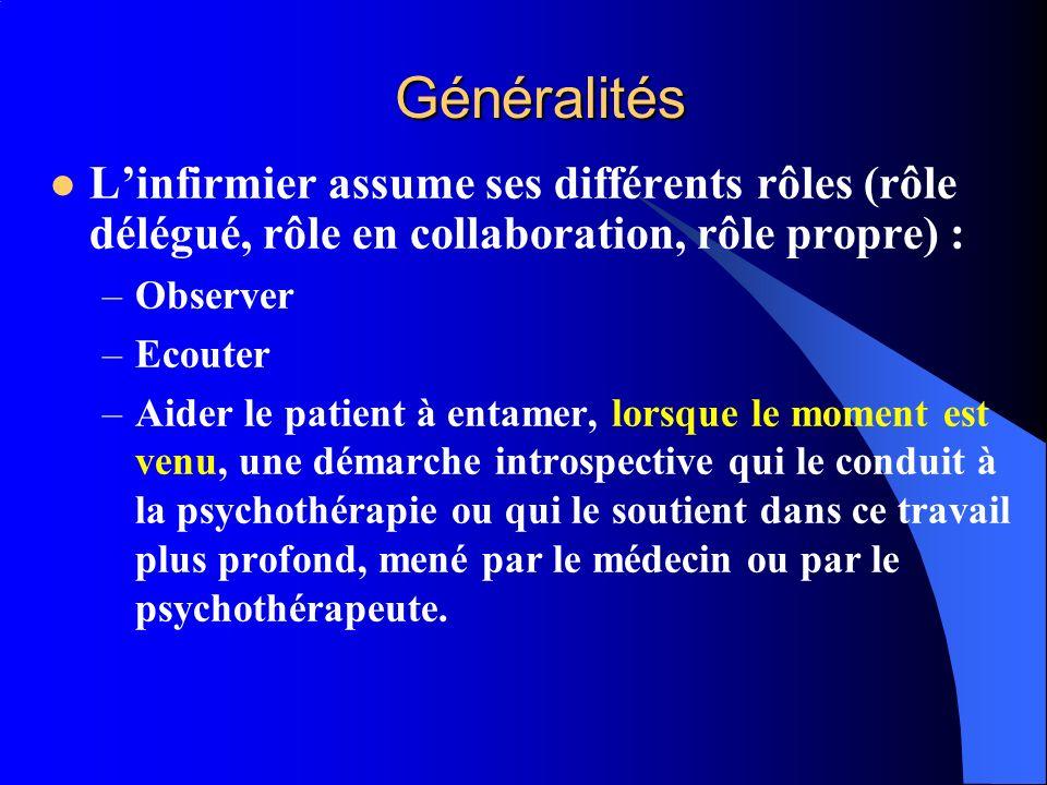 Généralités Linfirmier assume ses différents rôles (rôle délégué, rôle en collaboration, rôle propre) : –Observer –Ecouter –Aider le patient à entamer