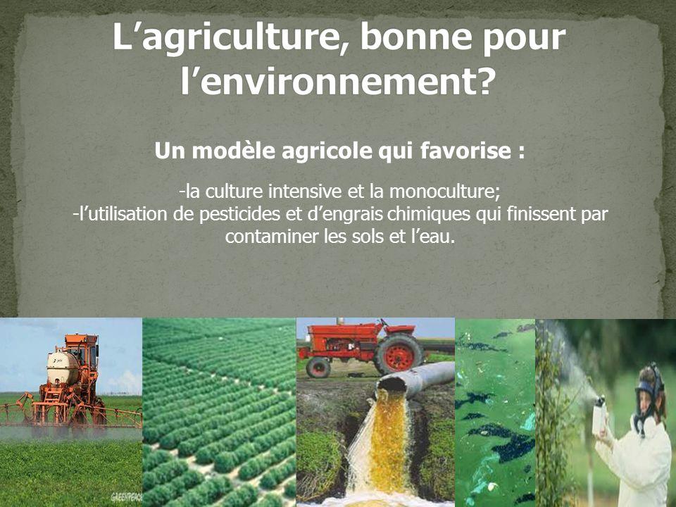 Un modèle agricole qui favorise : -la culture intensive et la monoculture; -lutilisation de pesticides et dengrais chimiques qui finissent par contaminer les sols et leau.