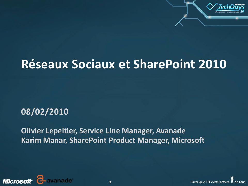 11 Réseaux Sociaux et SharePoint 2010 08/02/2010 Olivier Lepeltier, Service Line Manager, Avanade Karim Manar, SharePoint Product Manager, Microsoft
