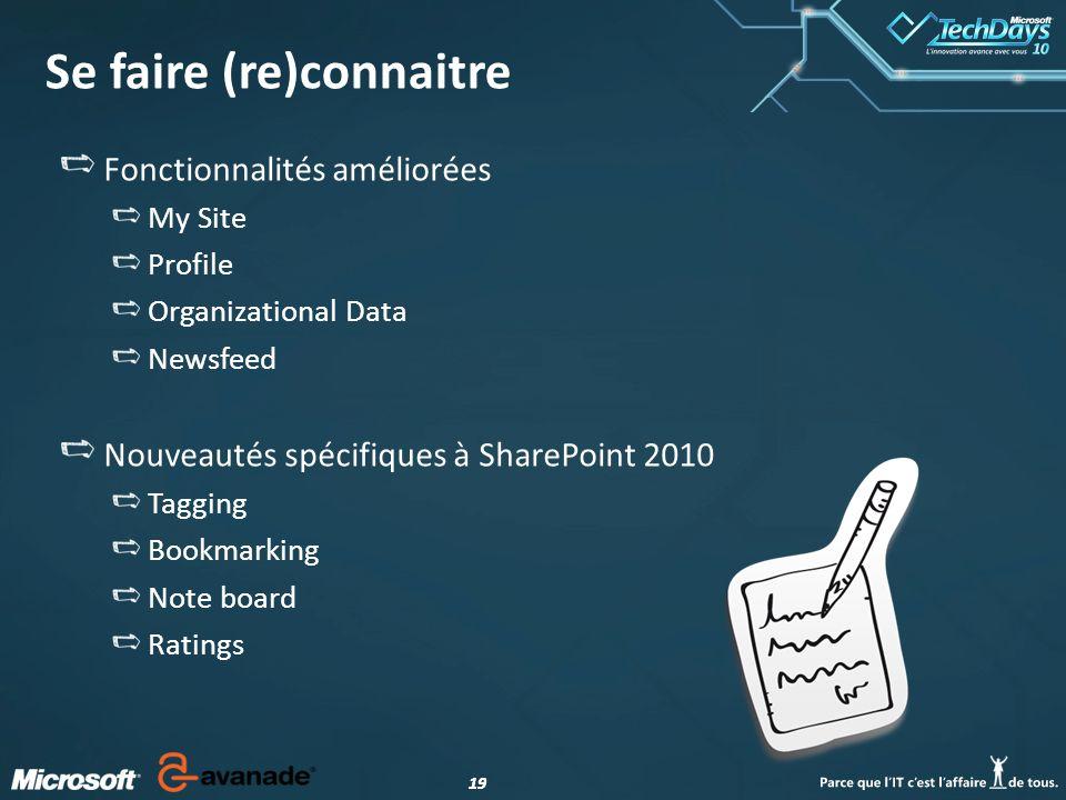 19 Se faire (re)connaitre Fonctionnalités améliorées My Site Profile Organizational Data Newsfeed Nouveautés spécifiques à SharePoint 2010 Tagging Bookmarking Note board Ratings