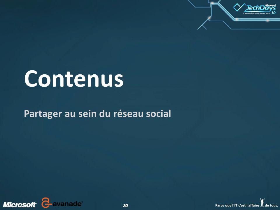 20 Contenus Partager au sein du réseau social