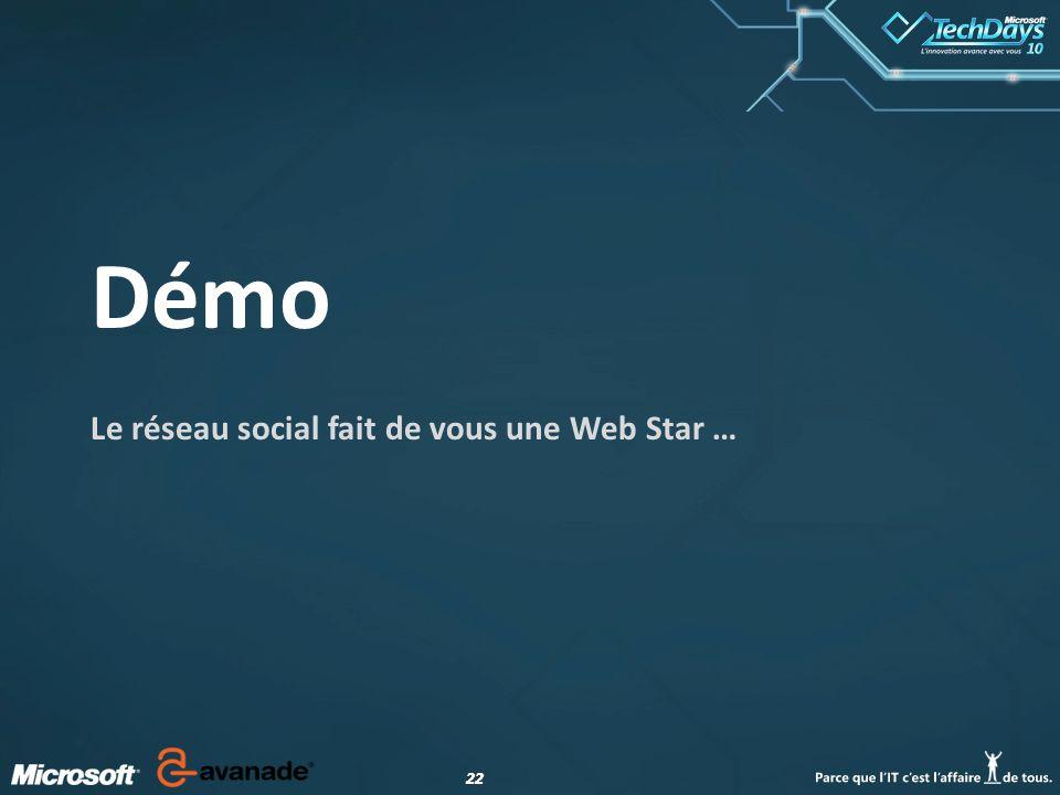 22 Démo Le réseau social fait de vous une Web Star …