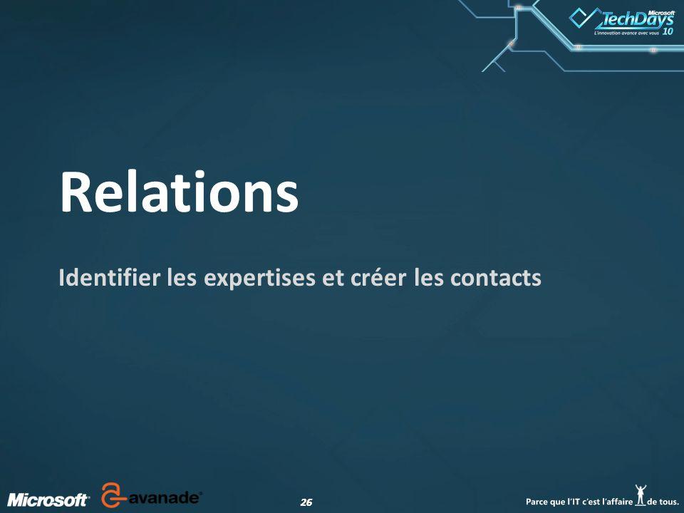 26 Relations Identifier les expertises et créer les contacts