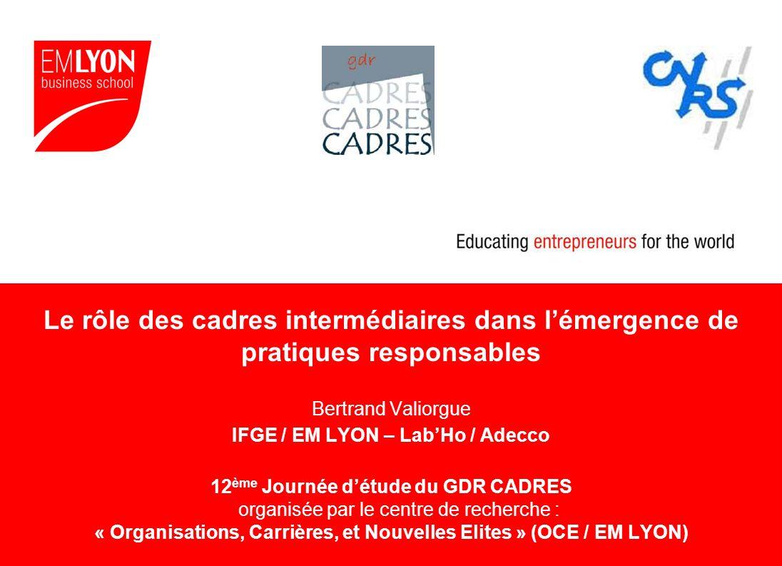 Le rôle des cadres intermédiaires dans lémergence de pratiques responsables Bertrand Valiorgue IFGE / EM LYON – LabHo / Adecco 12 ème Journée détude d