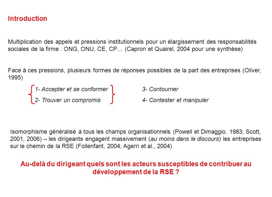 Introduction Multiplication des appels et pressions institutionnels pour un élargissement des responsabilités sociales de la firme : ONG, ONU, CE, CP…