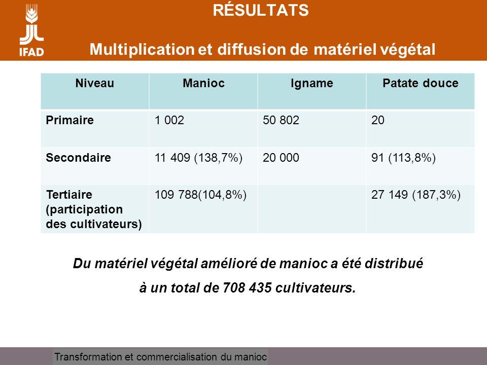 Cassava processing and marketing RÉSULTATS Multiplication et diffusion de matériel végétal NiveauManiocIgnamePatate douce Primaire1 00250 80220 Second