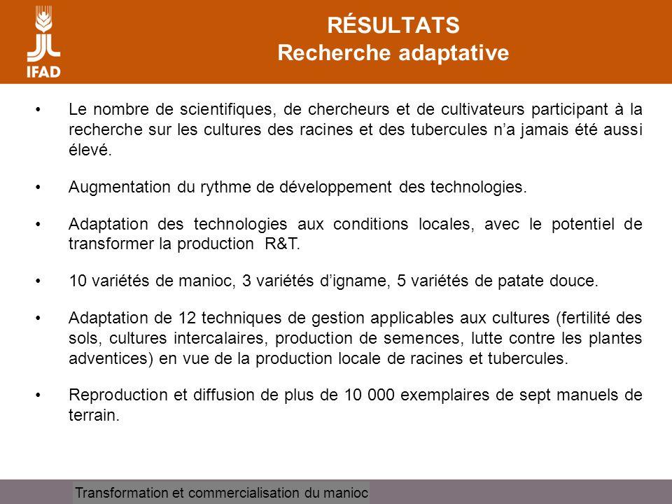 Cassava processing and marketing RÉSULTATS Recherche adaptative Le nombre de scientifiques, de chercheurs et de cultivateurs participant à la recherch