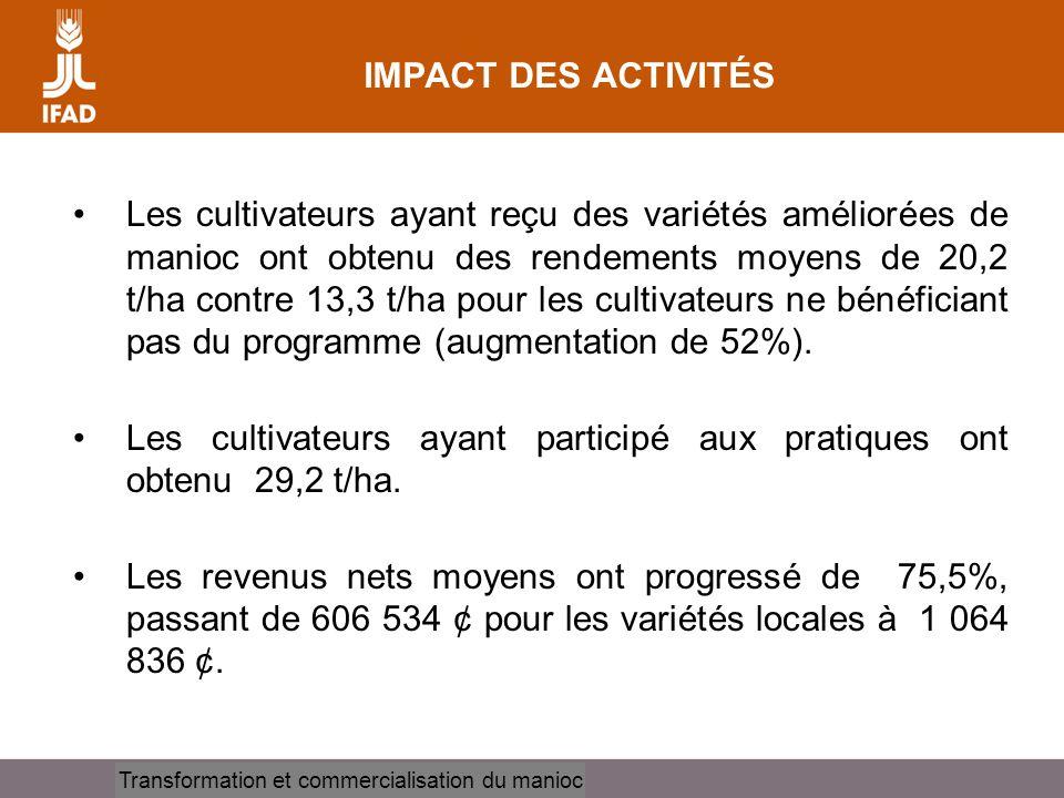 Cassava processing and marketing Les cultivateurs ayant reçu des variétés améliorées de manioc ont obtenu des rendements moyens de 20,2 t/ha contre 13