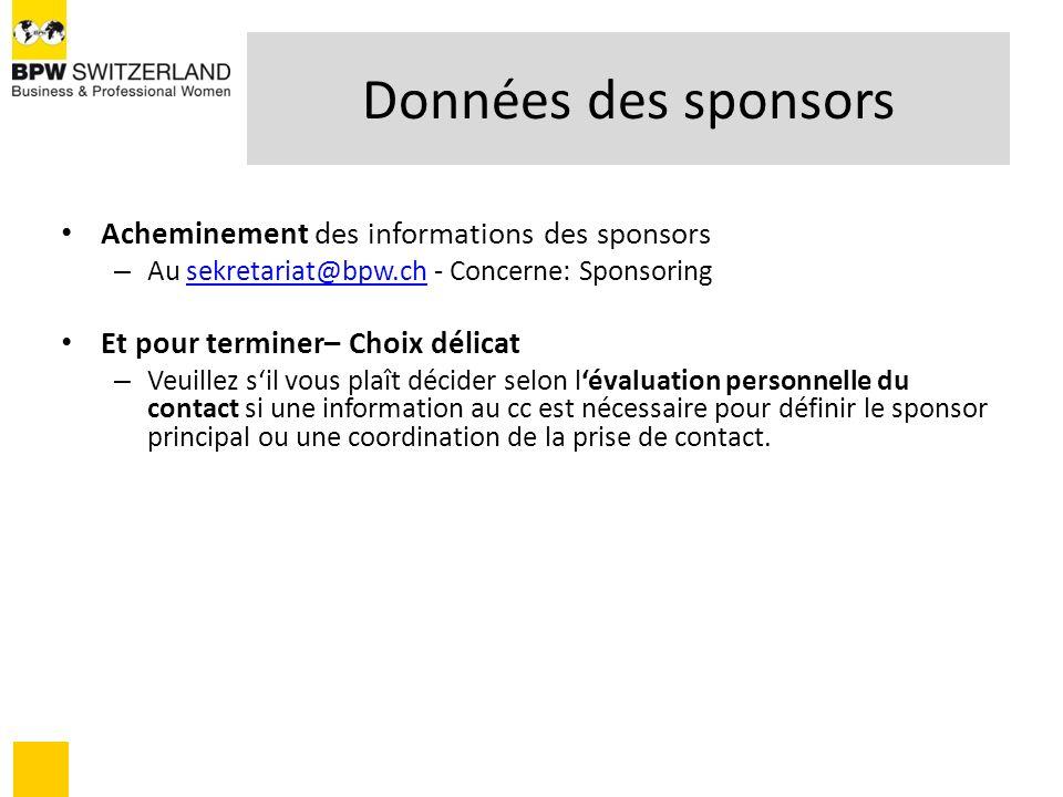 Données des sponsors Acheminement des informations des sponsors – Au sekretariat@bpw.ch - Concerne: Sponsoringsekretariat@bpw.ch Et pour terminer– Cho