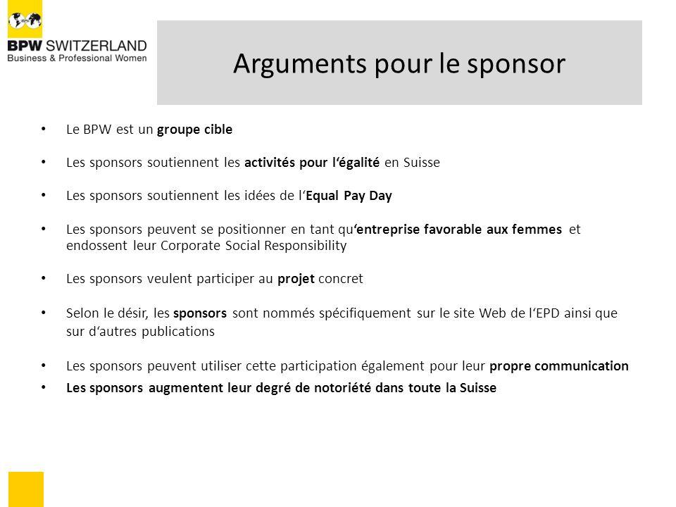 Arguments pour le sponsor Le BPW est un groupe cible Les sponsors soutiennent les activités pour légalité en Suisse Les sponsors soutiennent les idées