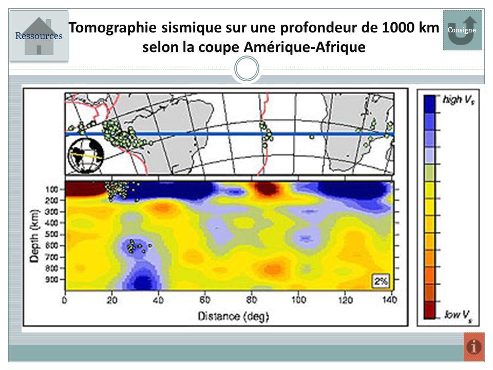 Ressources Tomographie sismique sur une profondeur de 1000 km selon la coupe Amérique-Afrique Consigne