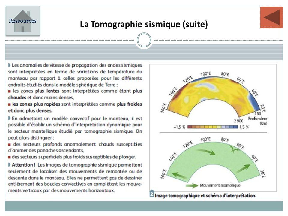 La Tomographie sismique (suite) Ressources