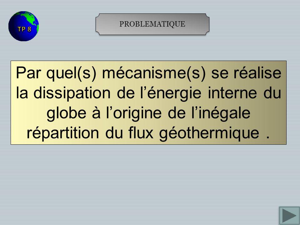PROBLEMATIQUE Par quel(s) mécanisme(s) se réalise la dissipation de lénergie interne du globe à lorigine de linégale répartition du flux géothermique.
