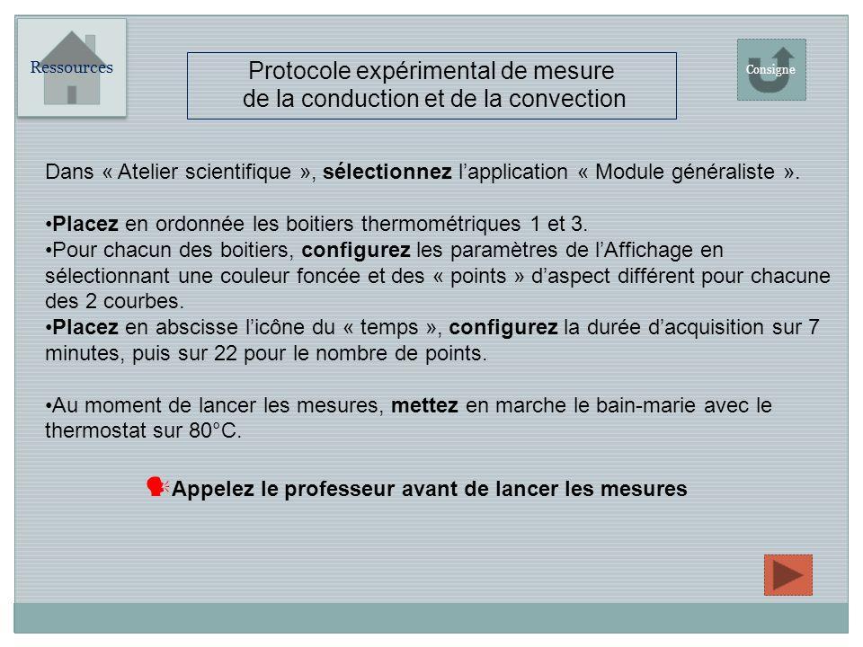 Protocole expérimental de mesure de la conduction et de la convection Ressources Consigne Dans « Atelier scientifique », sélectionnez lapplication « Module généraliste ».