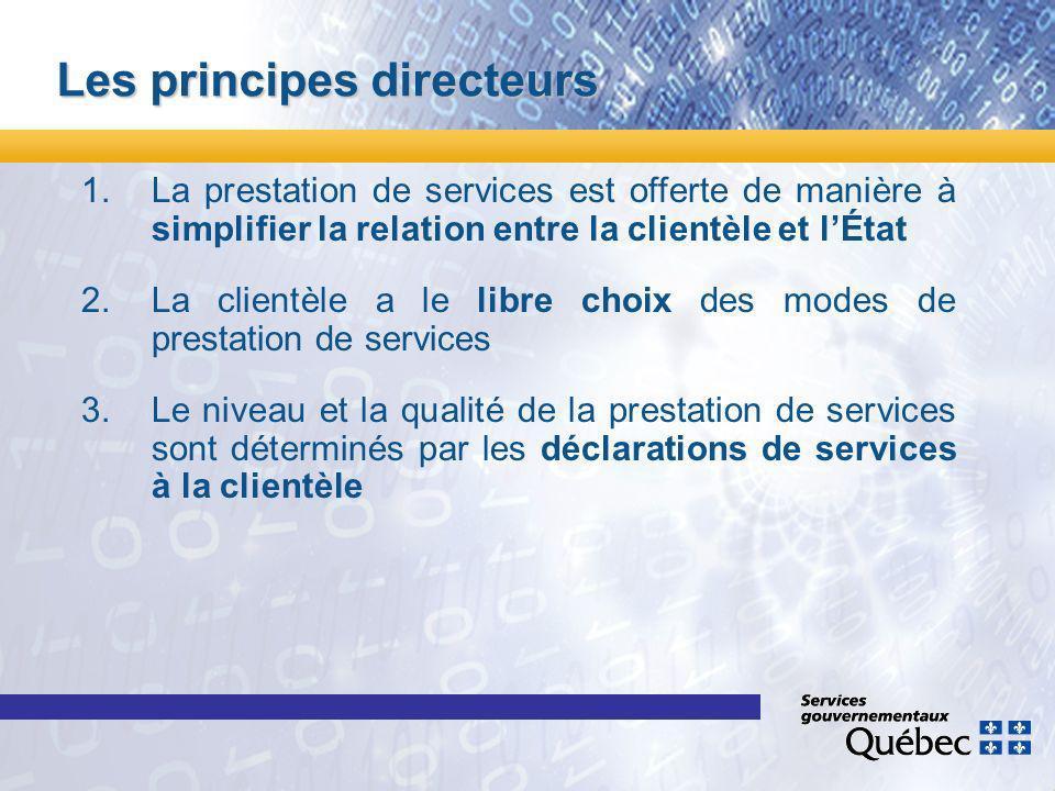 Les principes directeurs 1.La prestation de services est offerte de manière à simplifier la relation entre la clientèle et lÉtat 2.La clientèle a le libre choix des modes de prestation de services 3.Le niveau et la qualité de la prestation de services sont déterminés par les déclarations de services à la clientèle