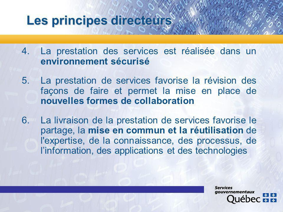 Les principes directeurs 4.La prestation des services est réalisée dans un environnement sécurisé 5.La prestation de services favorise la révision des façons de faire et permet la mise en place de nouvelles formes de collaboration 6.La livraison de la prestation de services favorise le partage, la mise en commun et la réutilisation de l expertise, de la connaissance, des processus, de linformation, des applications et des technologies
