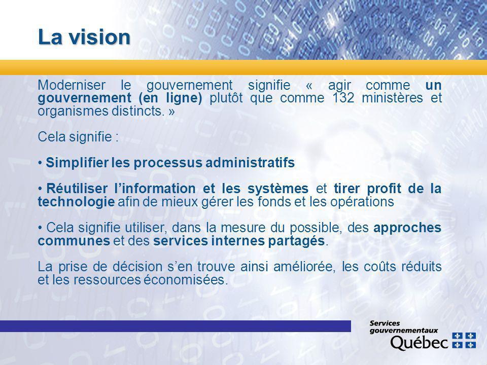 La vision Moderniser le gouvernement signifie « agir comme un gouvernement (en ligne) plutôt que comme 132 ministères et organismes distincts.